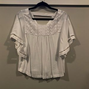 LOFT flutter sleeve v-back top with embroidery